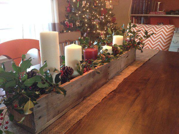 Centro de mesa navide o de palets decoraci n navide a for Mesa de centro de palet