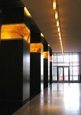 Backlit onyx columns. Wells Fargo Center in Norfolk, Virginia.