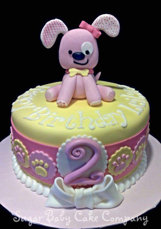 Pink Puppy Birthday Cake