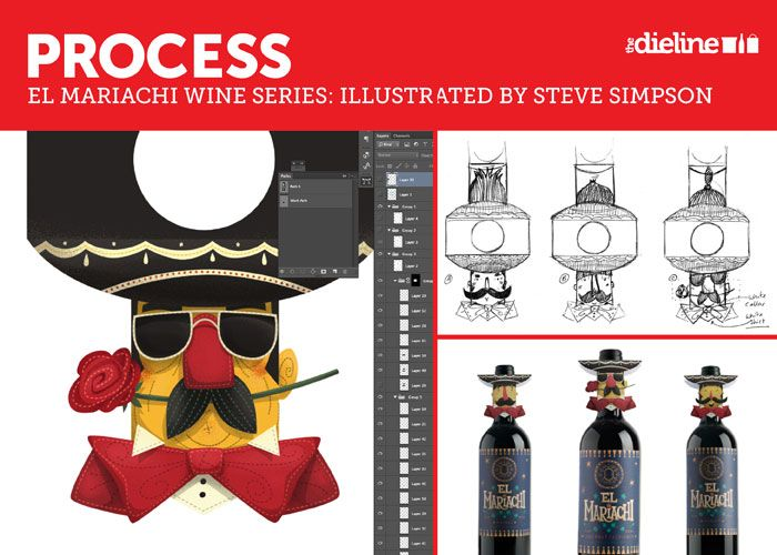 process for El Mariachi wine labels and neck hanger. beautiful incorporation of typography and colors