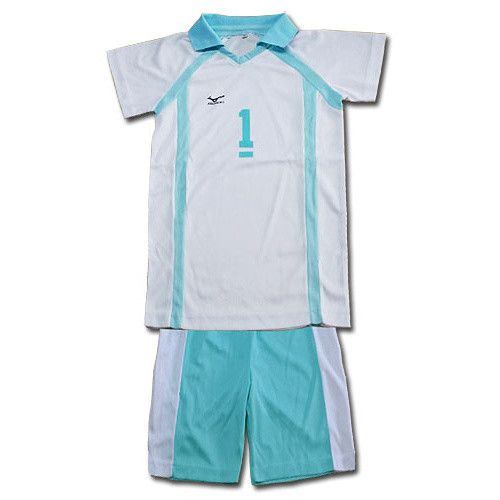 If you want to join the Aobajosai High volleyball club from Haikyu!, you're going to need a jersey first. This set from Great Eastern Entertainment includes shorts and a polo neck T-shirt with the number 1 in blue and white. It's made of polyester and comes in sizes S, M, L, and XL. Now you can be a part of your favorite team!  #tokyootakumode #cosplay #Haikyu!!
