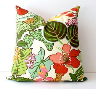 Tropical Pillow Cover by Whitlock & Co. >> Beautiful colors and so summery!: Modern Tropical, Pillows Covers, Floral Design, Tropical Flower, Green Hot, Pink Green, Hot Pink, Pink Floral, Design Pillows