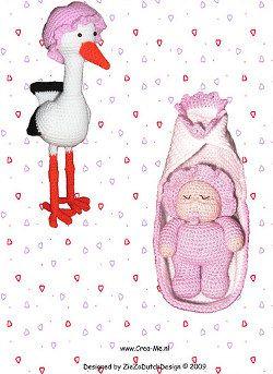 2000 Patrones gratis Amigurumi: Nanna Cigüeña y bebé