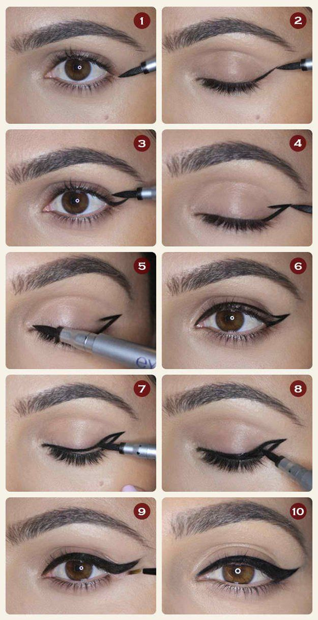 Winged Eyeliner | 12 Different Eyeliner Tutorials For NYE | Easy And Quick Step By Step Eyeshadow Tricks Using Eyeliner by Makeup Tutorials at http://makeuptutorials.com/12-different-eyeliner-tutorials-youll-thankful/