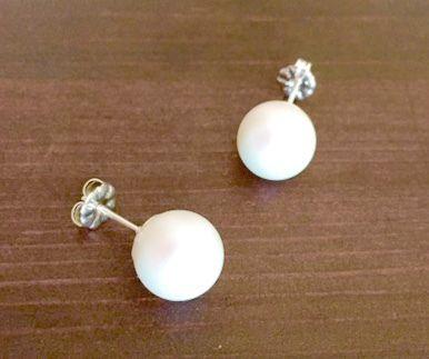 Pearlescent White Pearl Stud Earrings - Swarovski Pearl Earrings - Silver Earrin £12.99