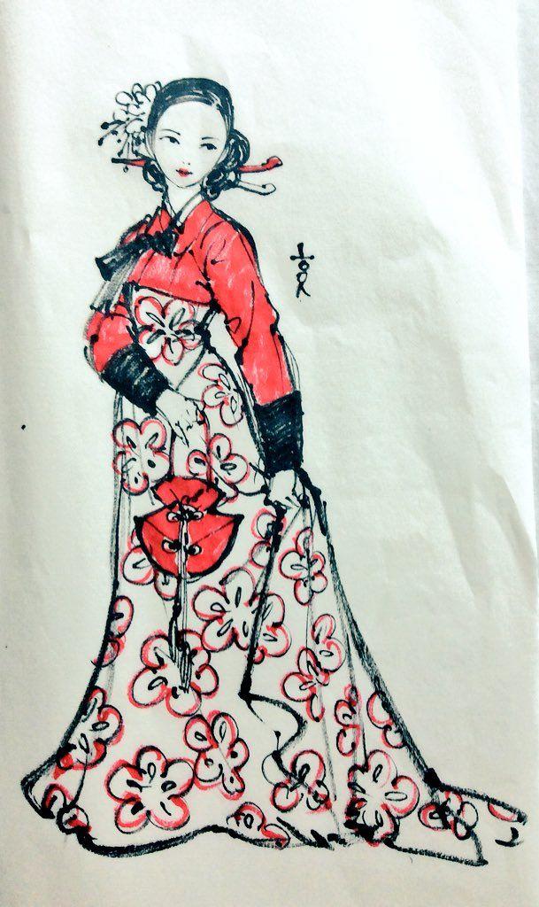 Brushpen drawing. Modified Hanbok.