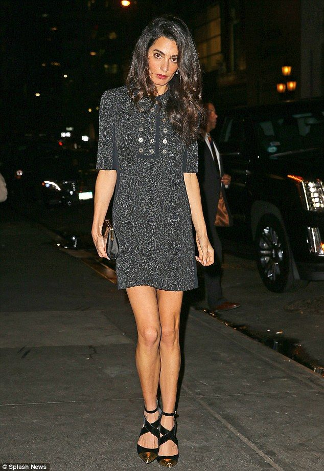 Hitting the town: Amal Clooney indulged in some girl time in New York on Monday after cele...