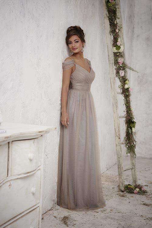 Balletts Bridal - 22908 - Bridesmaids by Jacquelin Bridals Canada - Perfectly elegant, this tulle gown has a pleated middle and bodice carried by twinkling beaded straps and is accented with off-the-shoulder flutter straps. Pictured In: Bronze/Platinum