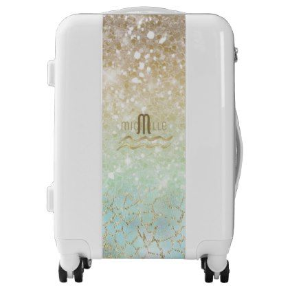 #Combo Glitter Gradient Opal Gold ID435 Luggage - #custom #luggage #suitcase #suitcases #bags #trunk #trunks