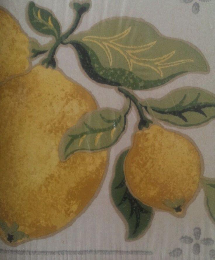 Laura Ashley Wallpaper Border Green Yellow Lemon Fruit Garden 5 Yds Prepasted Lauraashley Fruit Garden Laura Ashley Green