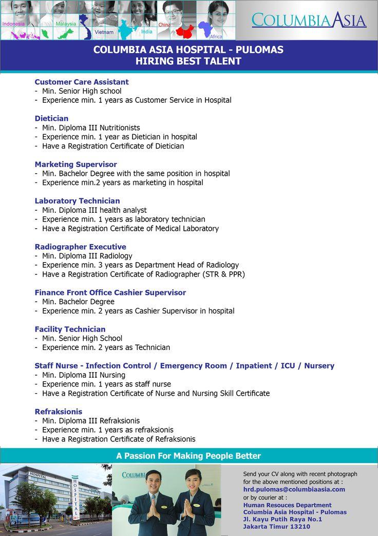 Job Vacancy RS Columbia Asia Pulomas