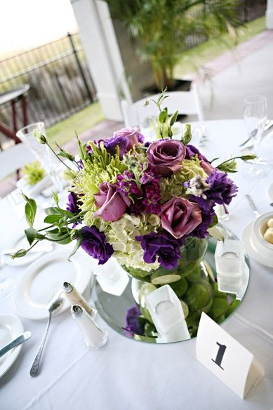 Purple and Pink Centerpiece (Limes in vase)