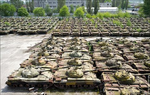 Kharkov armor repair facility in Ukraine - hundreds of Soviet-built T-64s, T-72s and T-80 tanks that look like they've been abandoned since the collapse of the Soviet Union