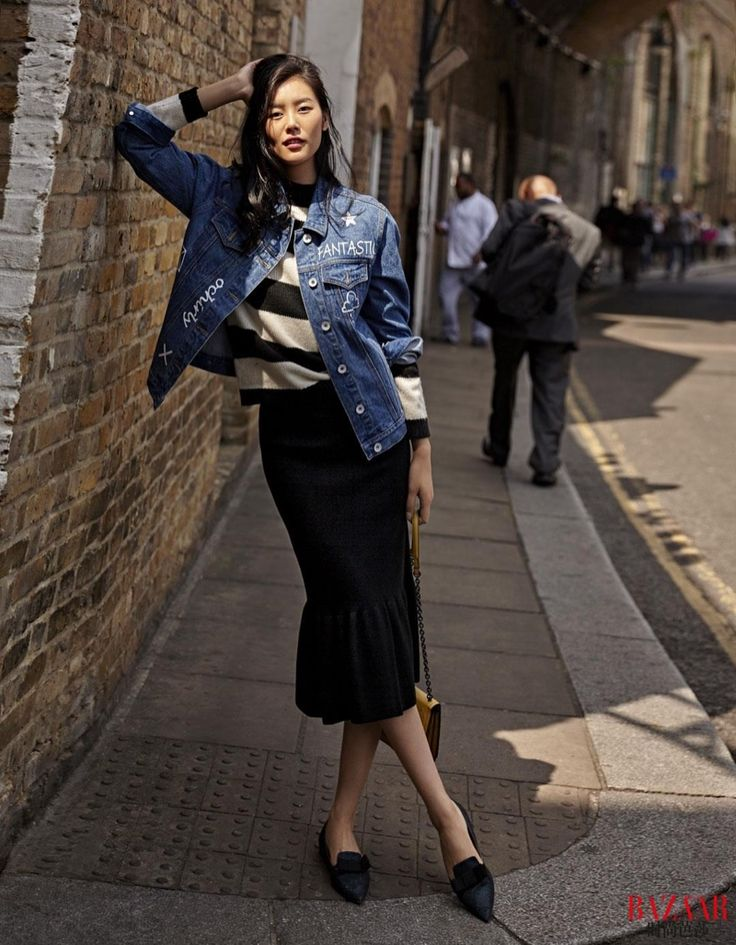 Liu Wen wears a denim jacket for Harper's Bazaar China Magazine October 2015 issue