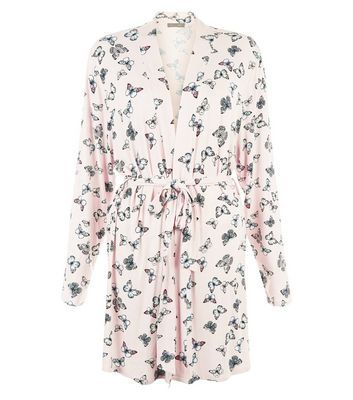 Pink Butterfly Print Dressing Gown