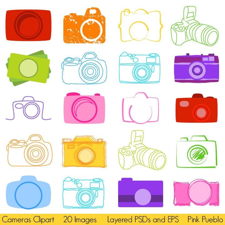Cameras Clipart, Photography Logo Elements, Layered Editable PSDs and Vectors. $8.00, via Etsy.