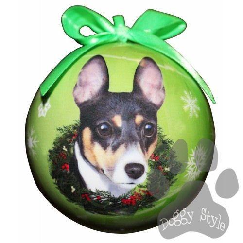 rat terrier shatterproof dog breed christmas ornament