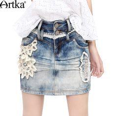Artka Women's Autumn All-match Handmade Battenburg Lace Applique Pressed Pleats Whitewashed Effect Denim Pencil Skirt QN14332X #Affiliate