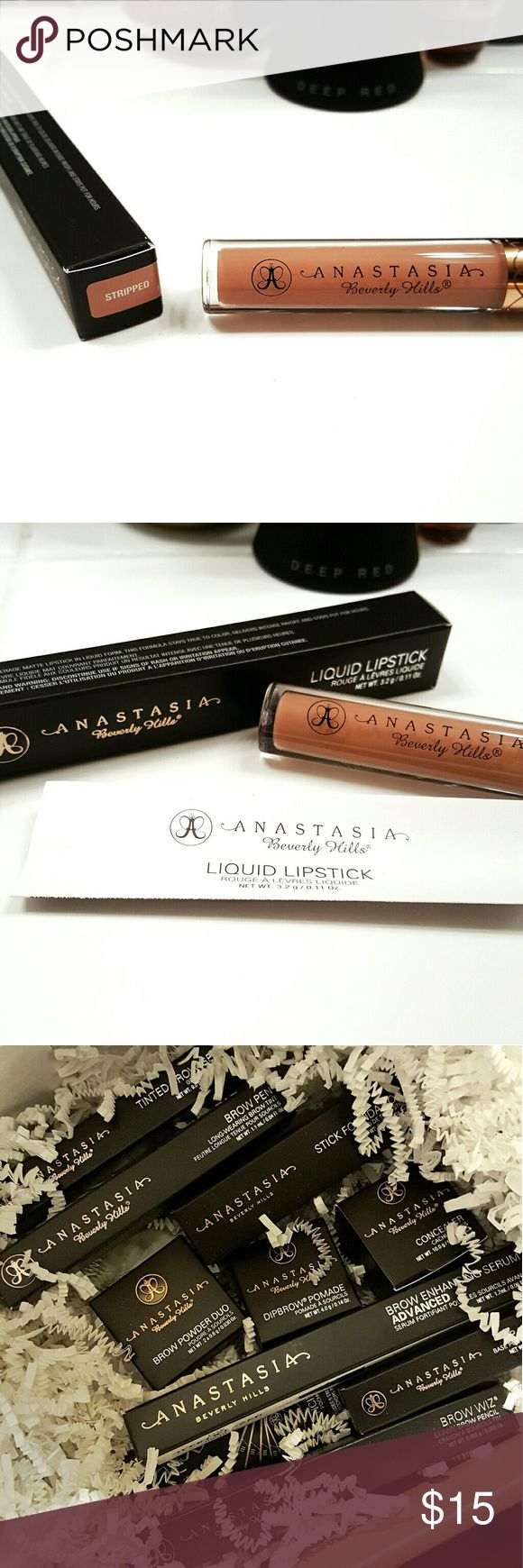 Anastasia BH stripped liquid matte lipstick Anastasia Beverly Hills liquid matte lipstick in stripped. - 100% authentic - full size - brand new in box, never used. Anastasia Beverly Hills Makeup Lipstick