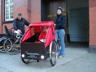 Christiania bike - three daughters in the box - my favourite ride!