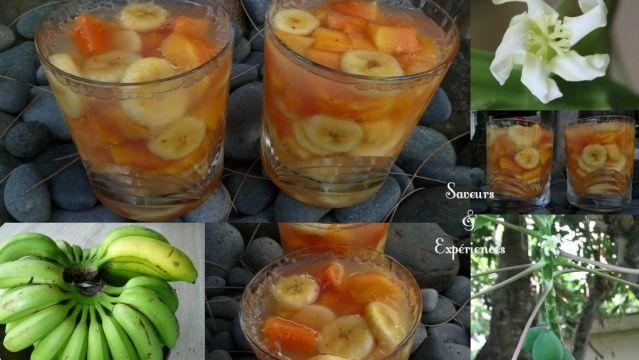Aspic de Papaye et Banane, gelée au miel, cardamone et piment d'Espelette