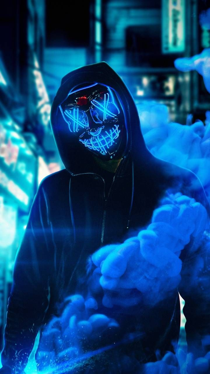 Neon Mask Blue Wallpaper By Amazingwalls 7a Free On Zedge