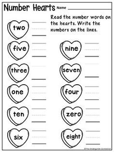 February themed printables for Kindergarten! Get 4 pages FREE in the sampler, including Number Hearts - number word practice!