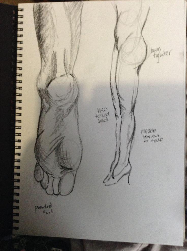 Practising drawing feet.