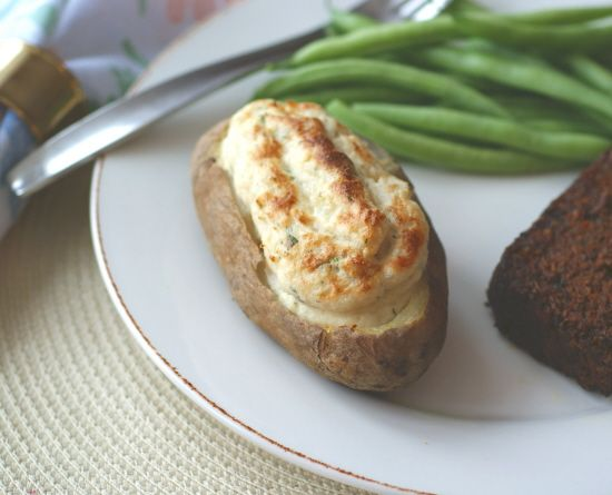 "Twice-Baked Potatoes with ""Sour Cream"" and Herbs"
