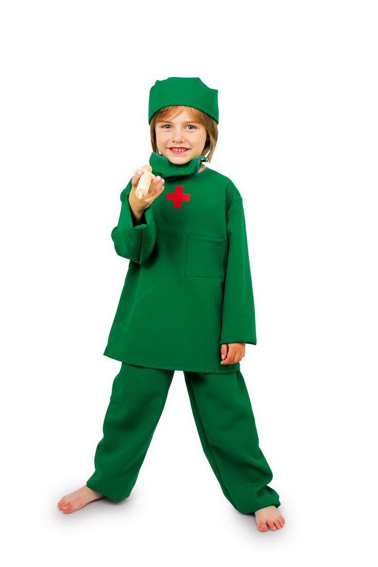 """""""OP Arzt"""" Kostüm. Für Kinder von 4 bis 10 Jahren, waschbar. Ein tolles Kostüm aus festem Stoff für kleine Chirurgen! Mundschutz und Haube komplettieren das professionelle Aussehen. ca. 54 x 32 cm"""