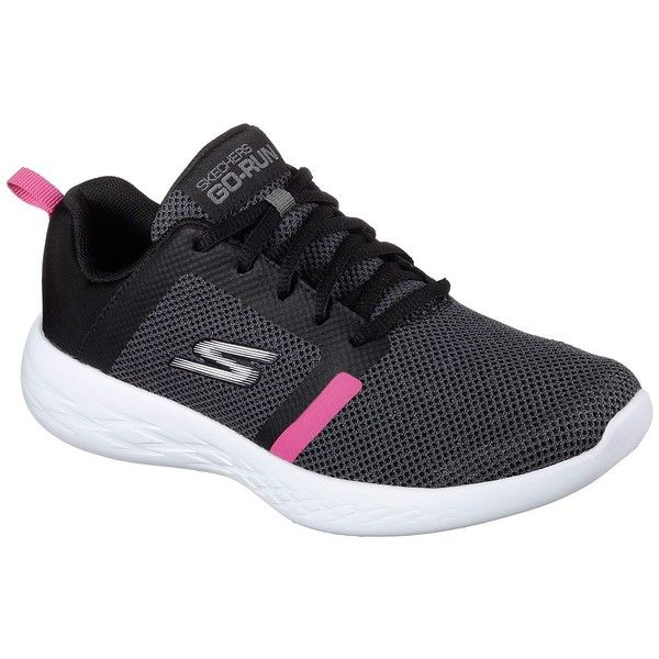 Skechers Women's Skechers Gorun 600 Black - Skechers Running Shoes ($65) ❤ liked on Polyvore featuring shoes, athletic shoes, black, breathable running shoes, breathable shoes, skechers, skechers footwear and kohl shoes