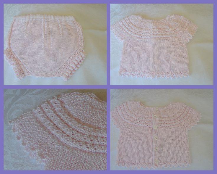 Talla: De 1 mes a ... CONJUNTO DE MANGA CORTA CON PANTALÓN A JUEGO Este conjunto está realizado en perlé rosa con ochitos calados e...