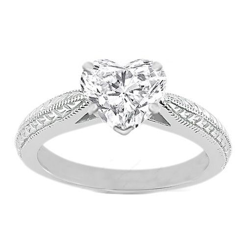 Heart Diamond Vintage Wheat engraved Cathedral Engagement Ring with surprise Diamonds in 14K White Gold