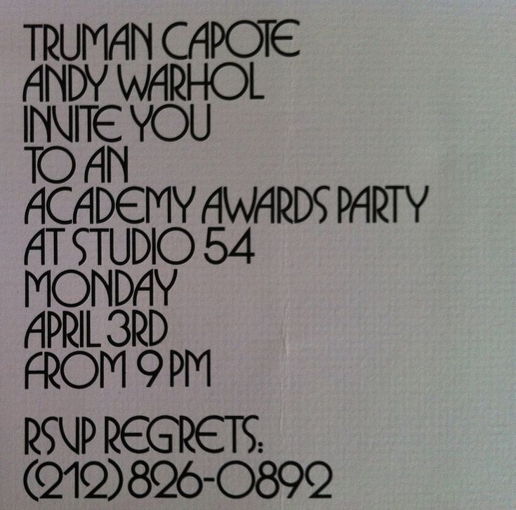 1978 Academy Awards Party Invitation — Hosted by Truman Capote & Andy Warhol at Studio 54