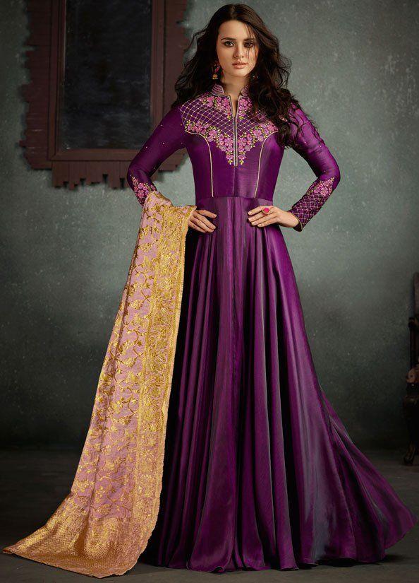 bee3dc9085 Wine Anarkali with Banarasi Silk Dupatta in 2019 | Anarkali Dresses ...