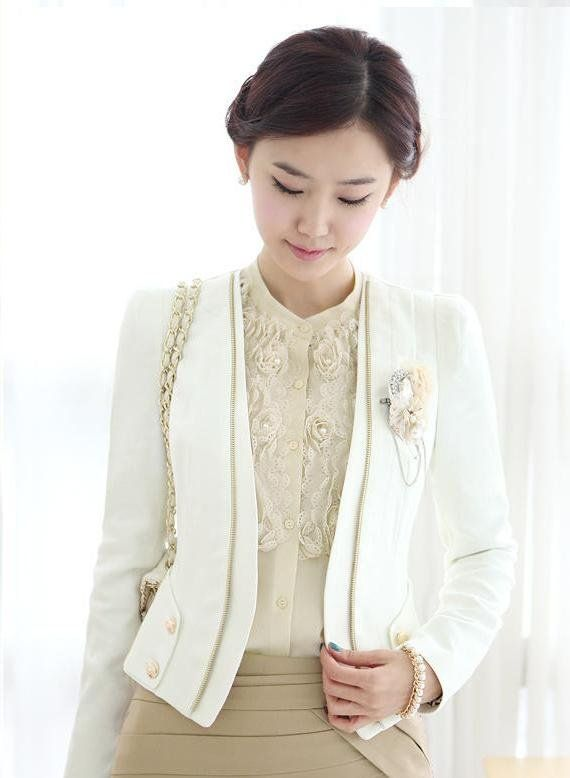 2013 New Fashion Formal Women Blazer OL Office Ladies Career Business Clothing Suit Black White Free shipping