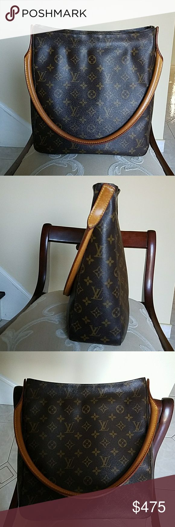 Louis Vuitton GM Looping Shoulder Bag Amazing Authentic monogram Louis Vuitton GM Looping Shoulder Bag. Authentic Louis Vuitton Monogram Looping Shoulder Bag.  GM M51145   Excellent Used Condition. It is the largest-sized member of the Looping family which all have the padded natural leather swiveling arc handle. Dustbag included. Louis Vuitton Bags Shoulder Bags