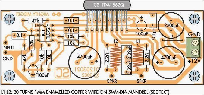 Mighty Midget 36W Audio Amplifier Circuit PCB