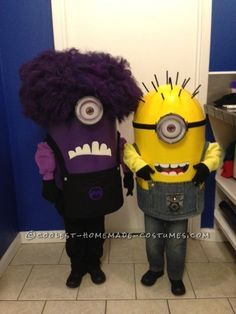 Funny Homemade Minions Couple Costume… Enter the Coolest Halloween Costume Contest at http://ideas.coolest-homemade-costumes.com/submit/