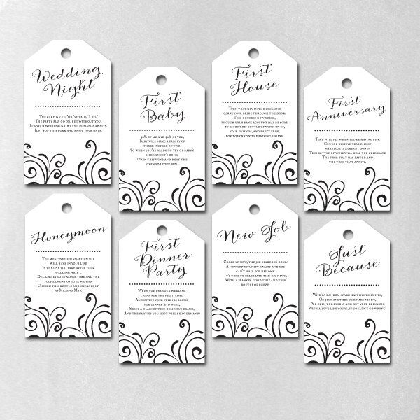 INSTANT DOWNLOAD - Bridal Shower Wine Gift Basket Tags - White by CharmingTreeDesign on Etsy https://www.etsy.com/listing/195088236/instant-download-bridal-shower-wine-gift