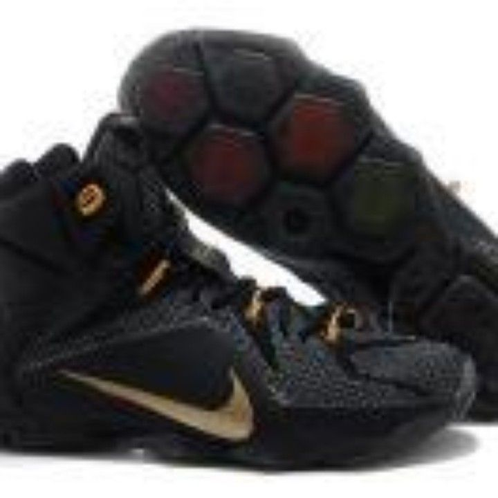 Cheap Nike LeBron 12 Black Gold Basketball Shoes For Sale