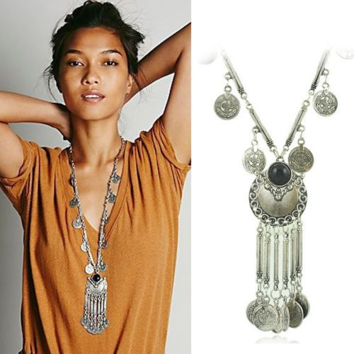 Hot-Retro-Gypsy-Free-People-Coin-Turkish-Ethnic-Tribal-Tassels-Long-Necklace