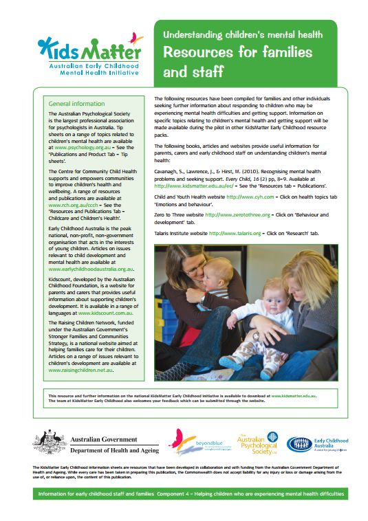Top tips: Understanding children's mental health Resources for families and staff. Information sheets for families and ECEC staff.