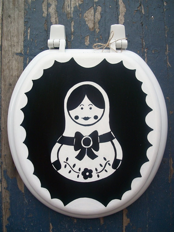 Russian Nesting Doll Black White Toilet Seat by DebbieIsAdopted, $50.00