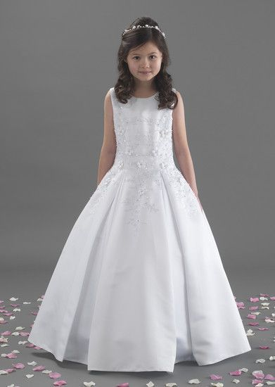 NEW 2017 Linzi Jay First Holy Communion Dress - Sam - Girls White Satin Pleated Holy Communion Dress with Beaded Flowers                                                                                                                                                                                 More