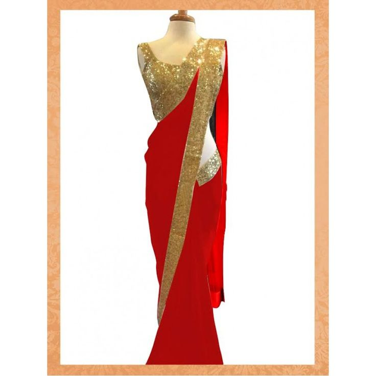 Designer Red Georgeet Saree - Buy Red Georgeet Saree Online at Best Prices in India | Vendorvilla.com at just Rs.1650/- on www.vendorvilla.com. Cash on Delivery, Easy Returns, Lowest Price.