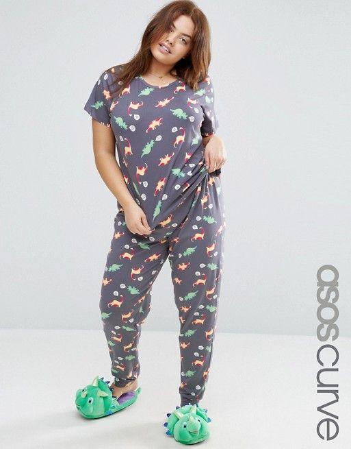 SUPER CUTE JIMMIES  ASOS Curve | ASOS CURVE Dino Print Tee & Pyjama Pant Set