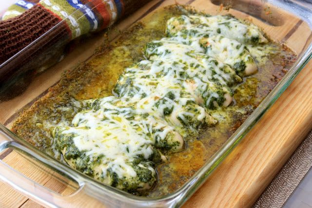 pesto chicken with mozzarella & parmesan cheese - clean and cut chicken into strips. salt, black & cayenne pepper, then smother chicken with pesto. bake at 375 degrees for 20 mins, and then add 1/2 cup shredded mozzarella and 1/2 cup Parmesan cheese for 5 more mins - SO GOOD!!!