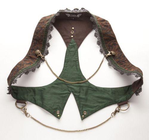 There is so little fabric to this garment that you can make it from virtually anything. A man's shirt, lady's blouse, Kids clothes, adult jacket or even scraps from some other project. Cut. Trim with ruffles. Embellish with chains and buttons. Done. Burning Man.