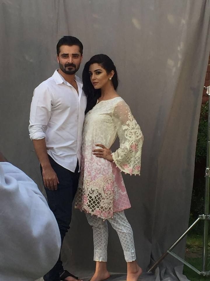 Behind the scene images of Hamza Abbasi and Maya Ali. the shoot is done for Maria B lawn campaign. they share beautiful on-shoot chemistry.